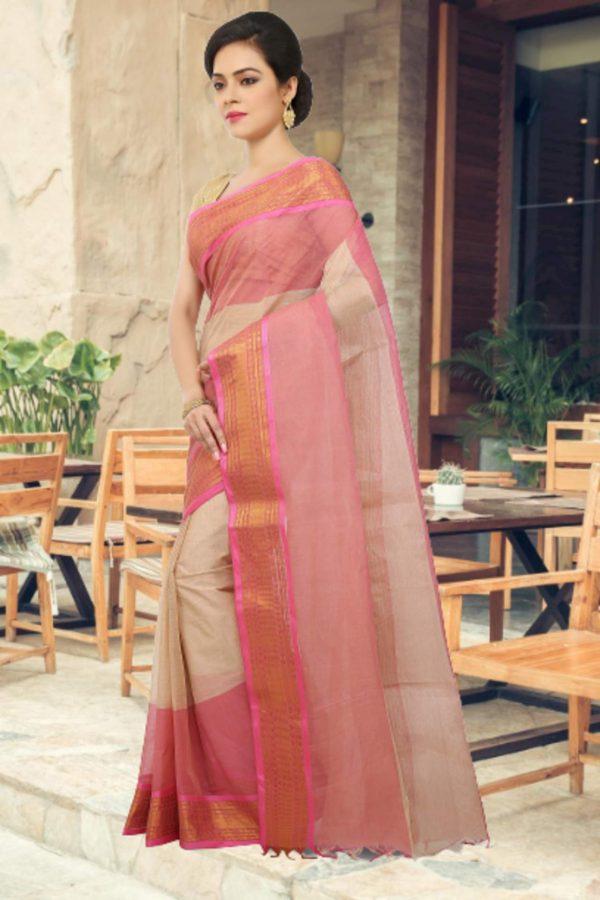 pink cotton tant sari