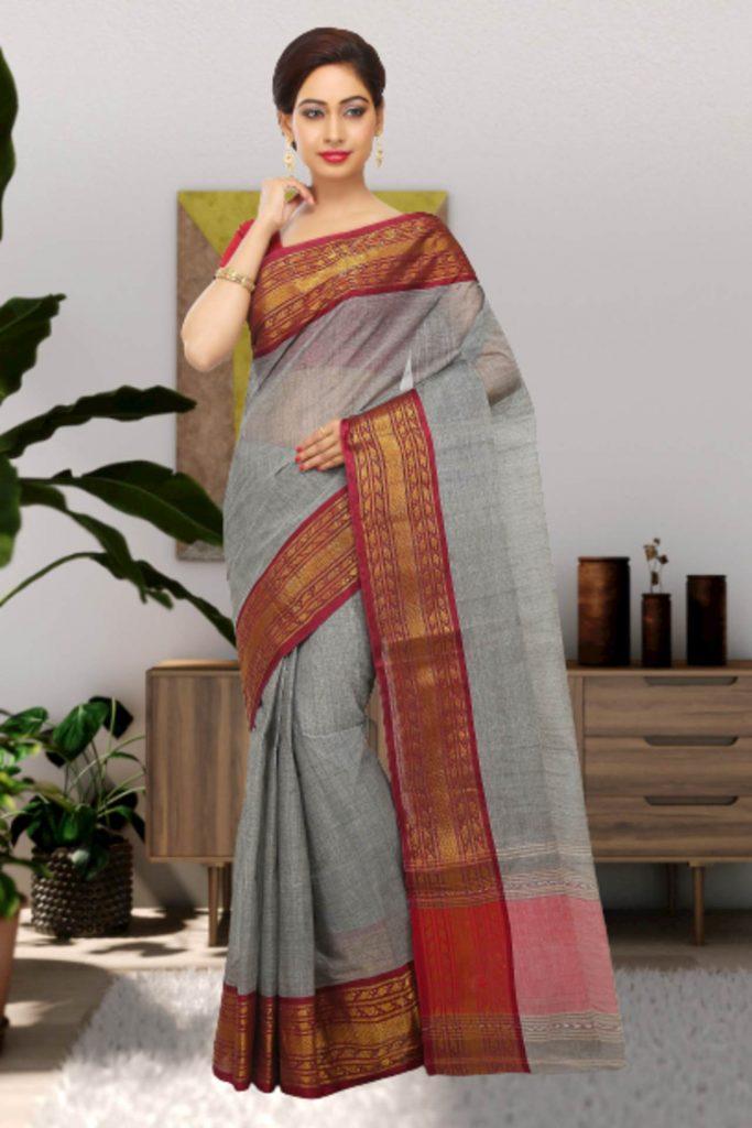 grey tant cotton sari