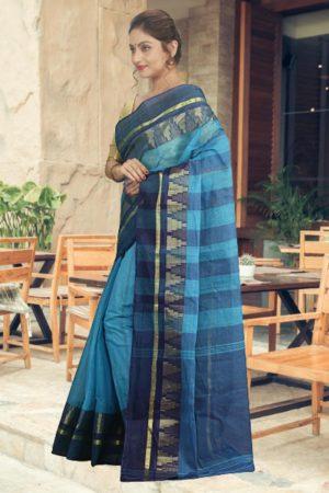 Blue Tant Cotton Saree