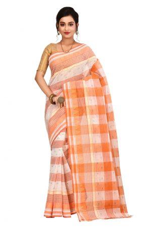 Orange Tant Cotton Saree