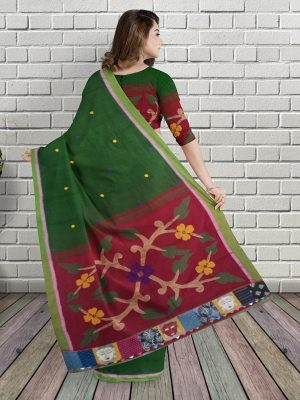 Green Embroidered Handloom Cotton Saree