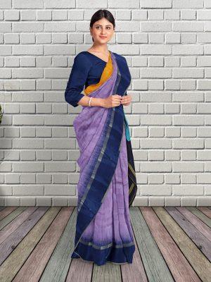 Purple Handloom Cotton Silk Saree