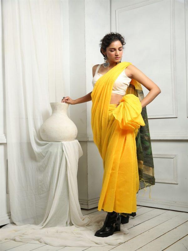 Yellow sequins sari
