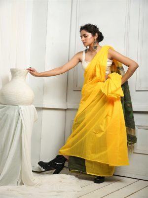 Yellow Silk Blend Sequins Saree