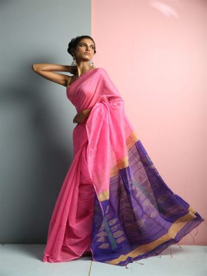 Pink Silk Blend Sequins Saree