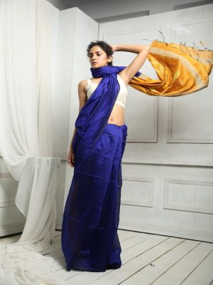 Blue Silk Blend Sequins Saree