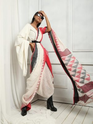 Milk White Pure Linen Saree