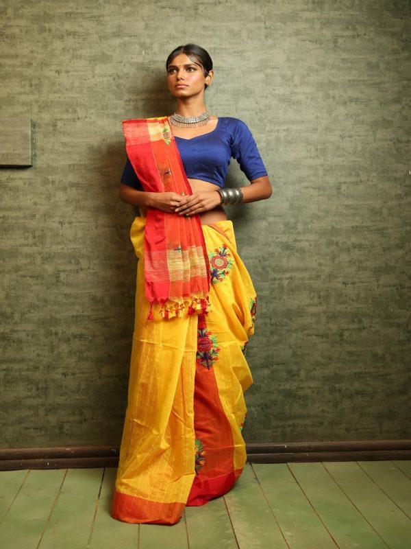 yellow mirror embroidery saree