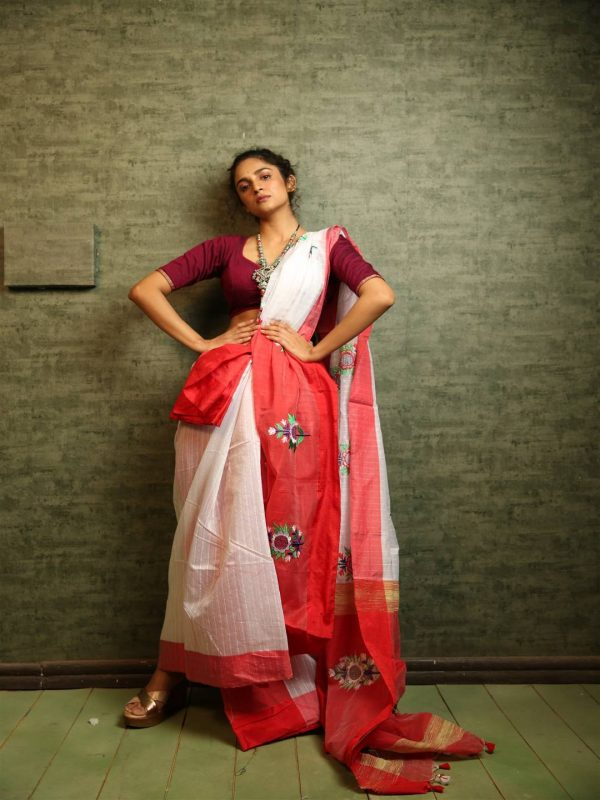 red mirror embroidered saree