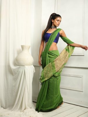 Emerald Green Ghicha Saree