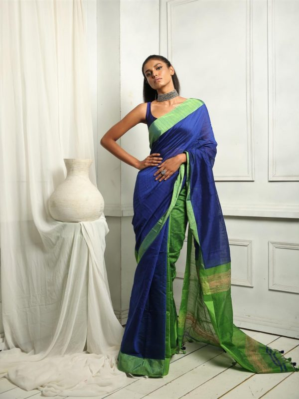 Azure blue cotton blend saree