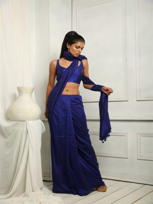 Navy Blue Silk Blend Saree