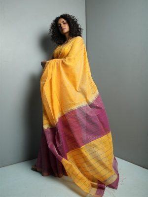 Medallion Yellow Sequins Cotton Saree