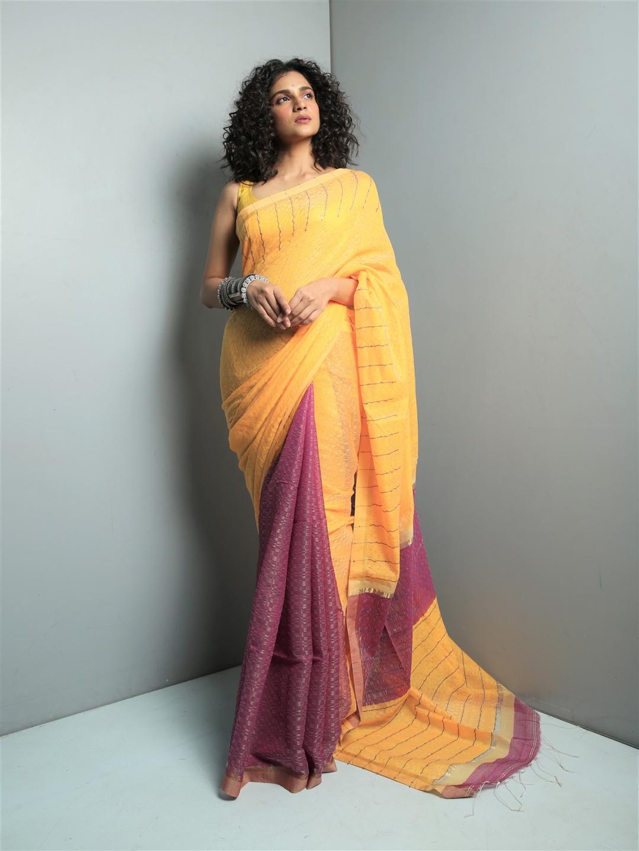 Yellow sequins cotton saree