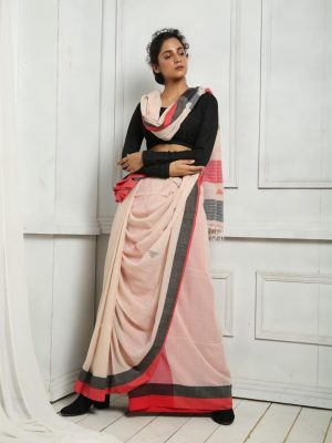 Off White Pure Cotton Saree