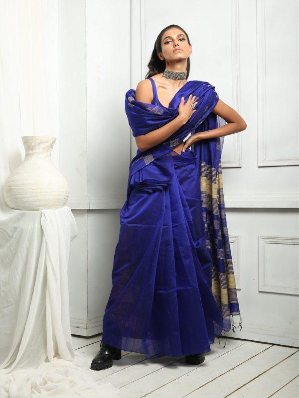 blue ghicha sari