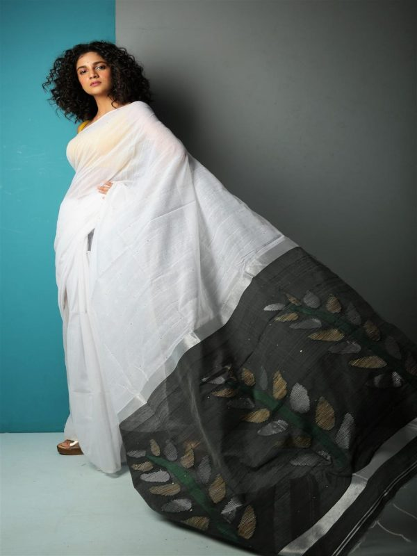 white sequins silk blend saree