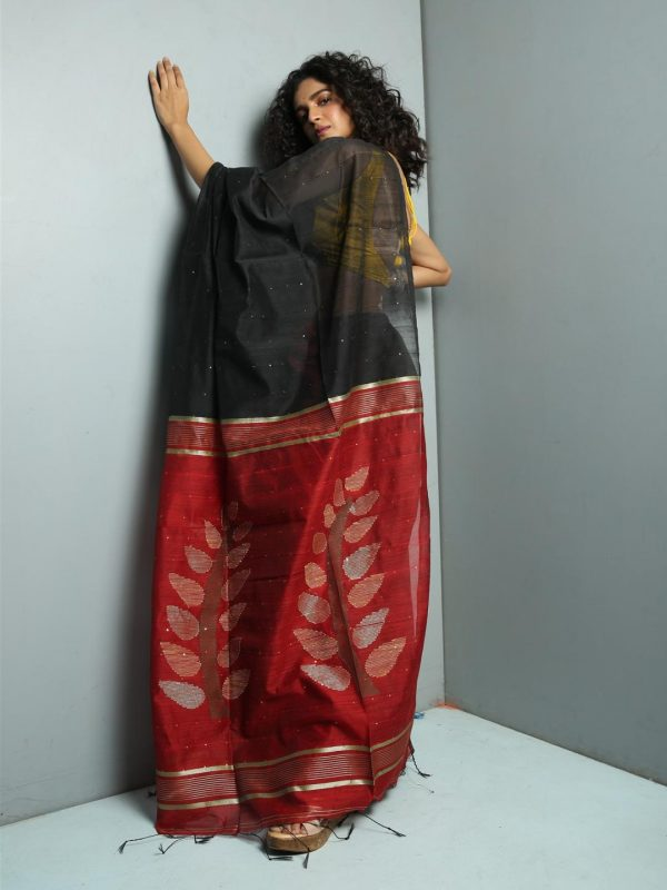 black sequins saree