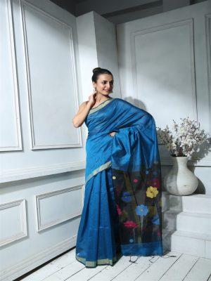 Blue Semi Dupion Saree