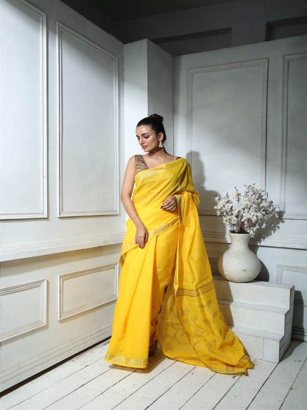 YELLOW BLENDED SILK SEQUINED SAREE WITH BLOUSE
