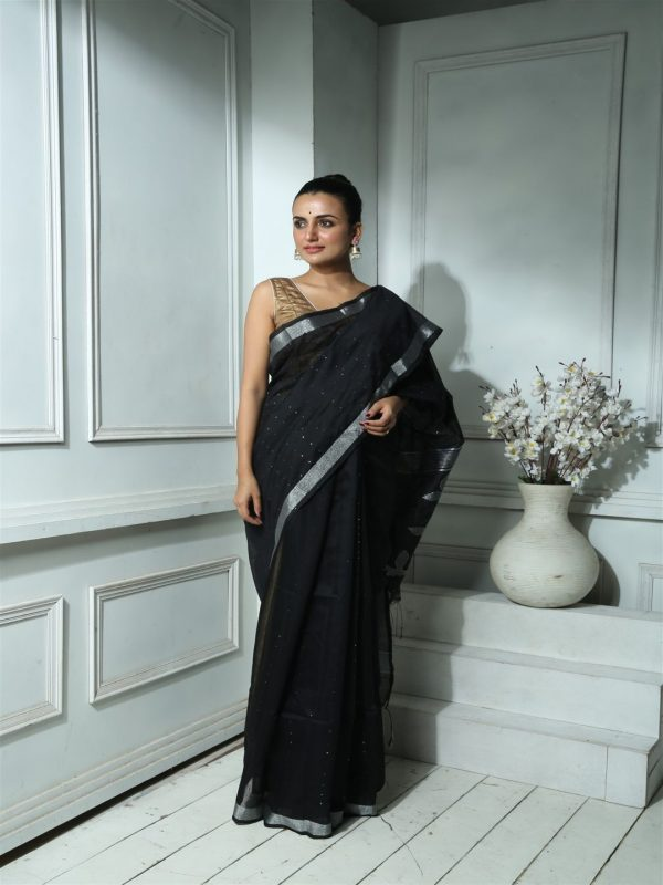 BLACK WEAVED BLENDED SILK SEQUINED SAREE WITH BLOUSE