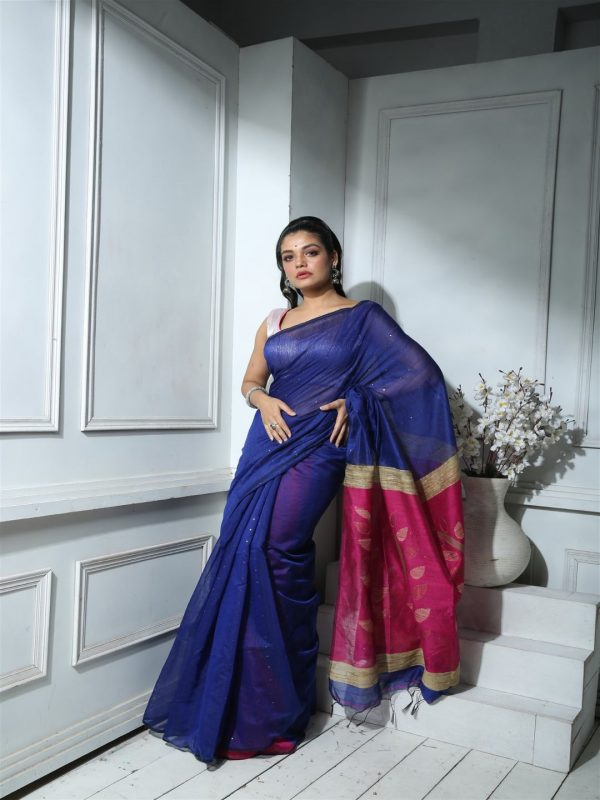Royal Blue Blended Silk Saree With Sequin