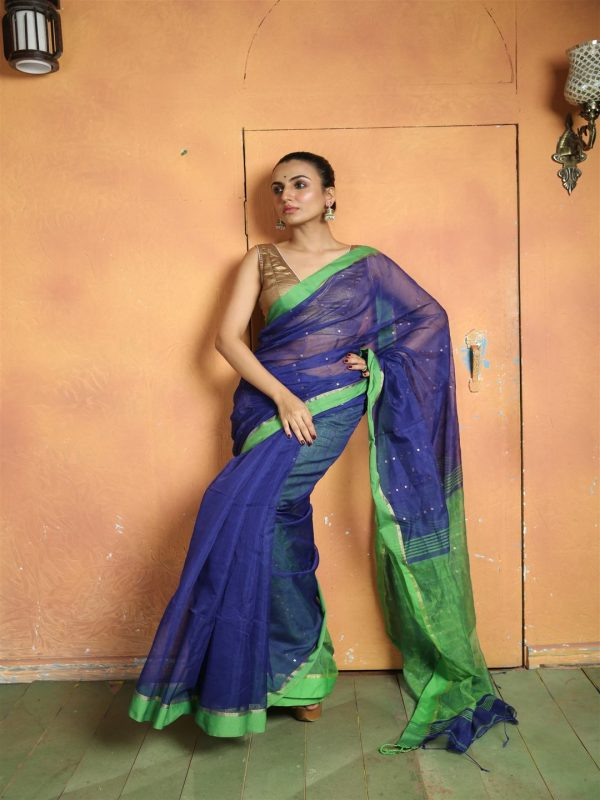 BLUE WOVEN SEQUINED SAREE WITH BLOUSE