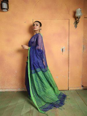 Blue Woven Sequins Saree