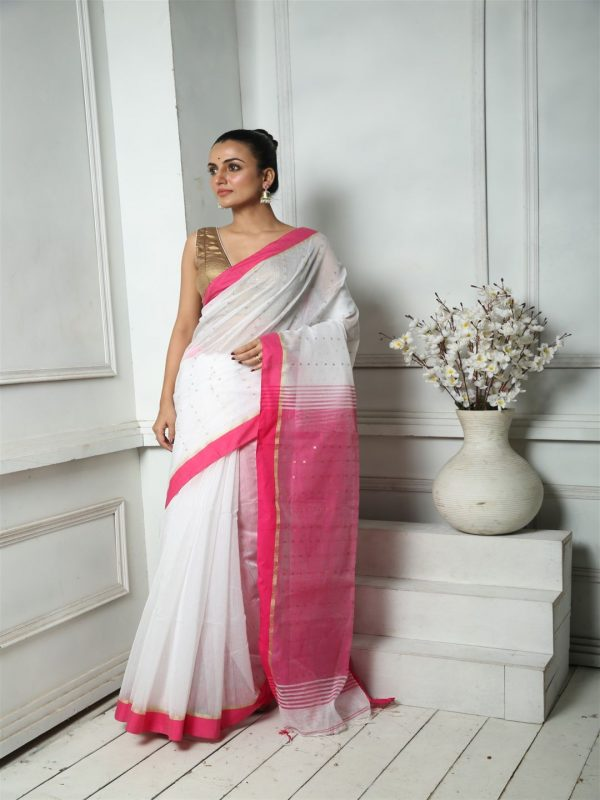 MILK WHITE AND DEEP PINK WOVEN SEQUINED SAREE WITH BLOUSE