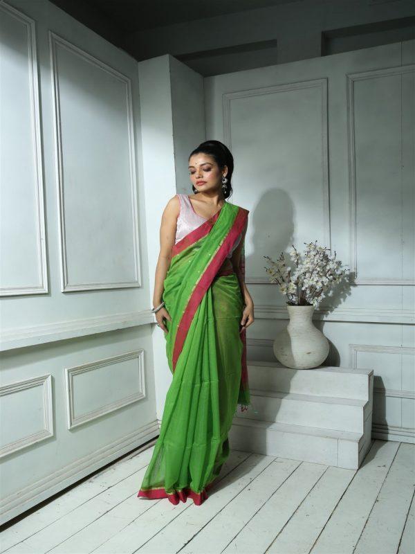 green magenta sequins saree