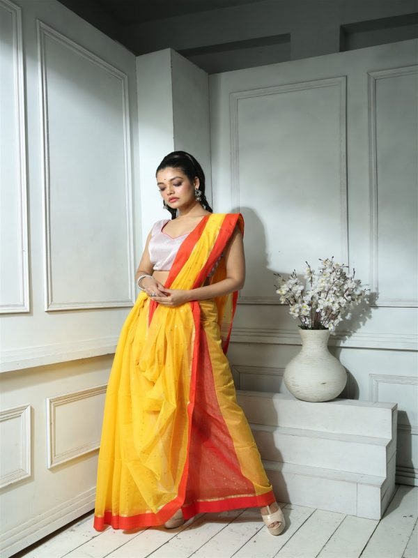 YELLOW AND RED WOVEN SEQUINED SAREE WITH BLOUSE