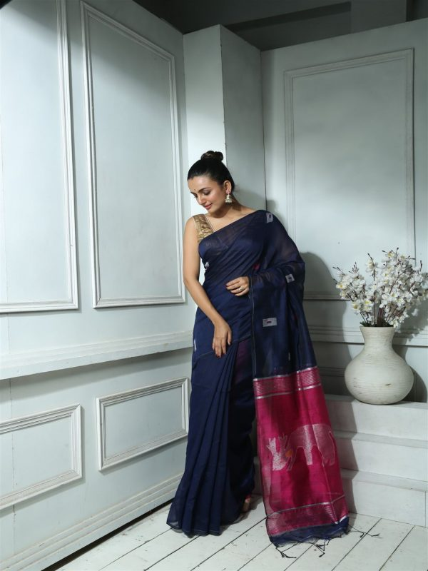 Navy Blue Blended Silk With sequin