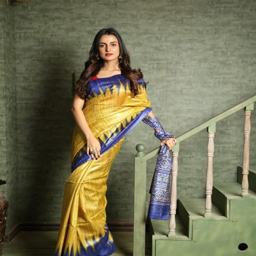 Ghicha yellow silk saree